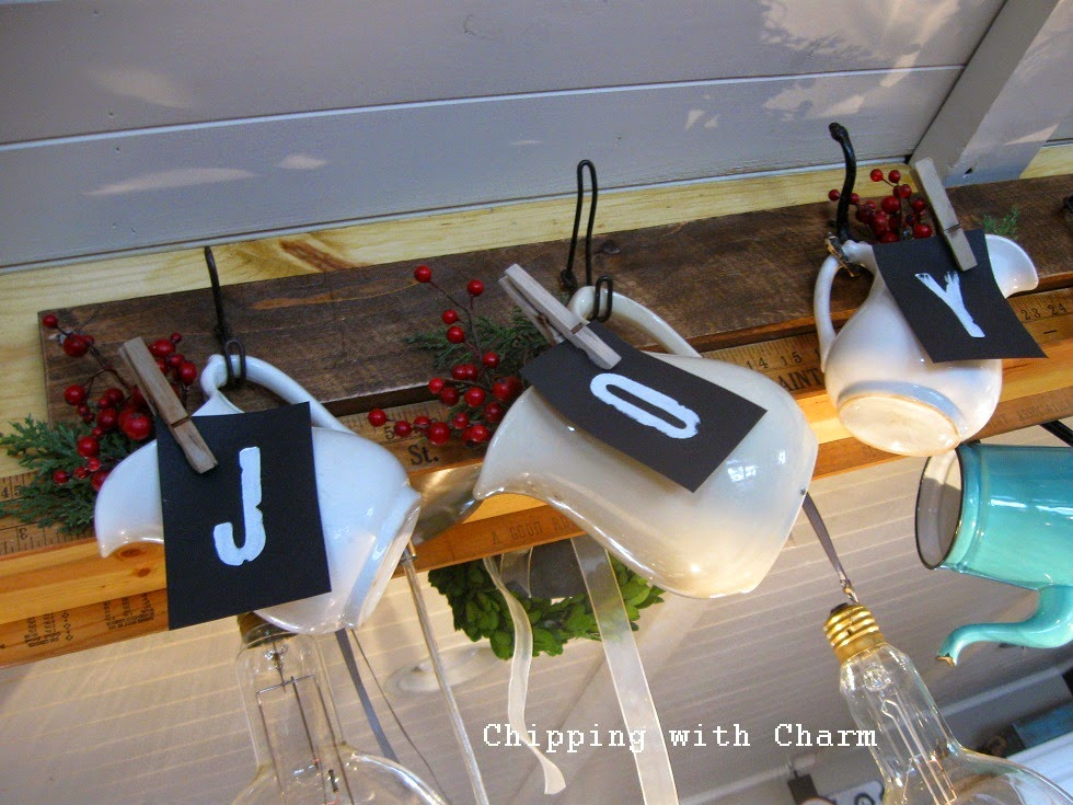 Chipping with Charm: Christmas in the kitchen, JOY filled pitchers...http://www.chippingwithcharm.blogspot.com/