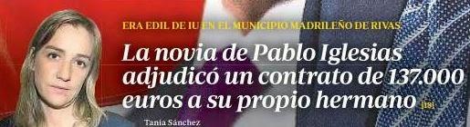 Tania Sánchez, en portada de La Razón