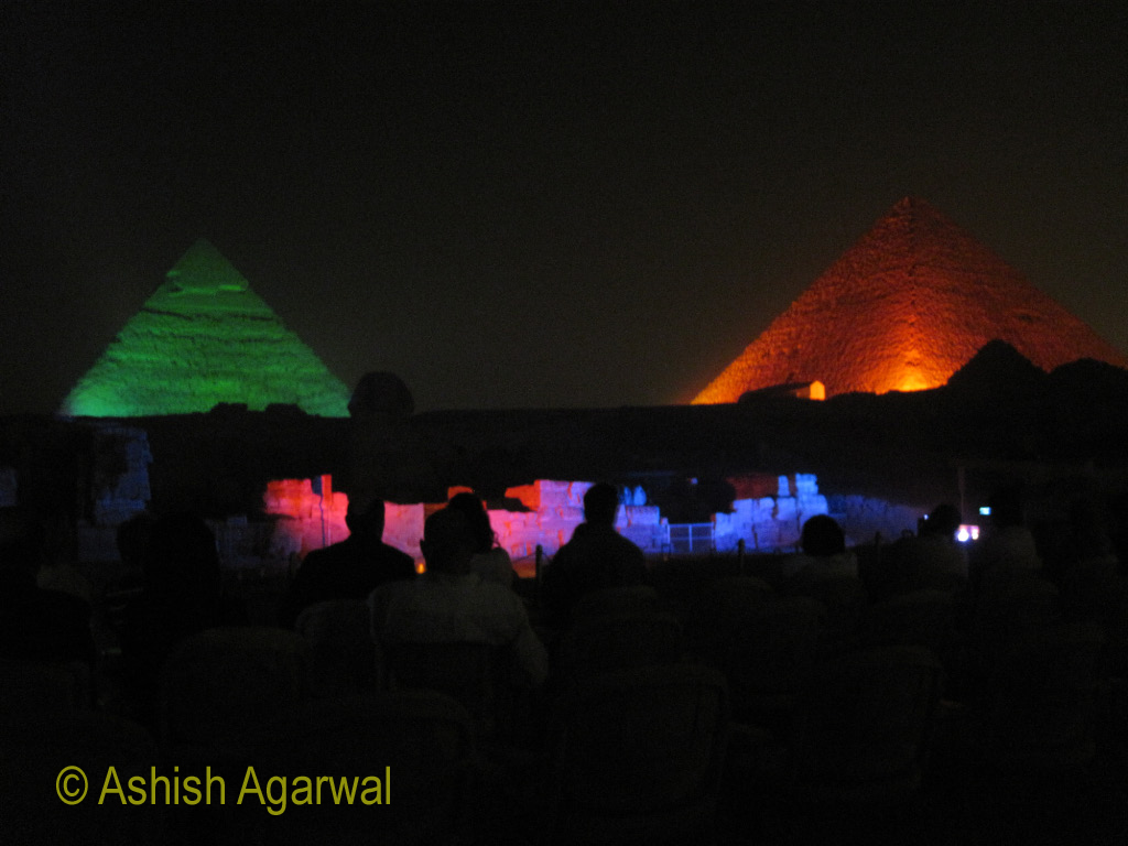 Multi-colored lights at the Pyramids in Giza, Egypt, at the Sound and Light show