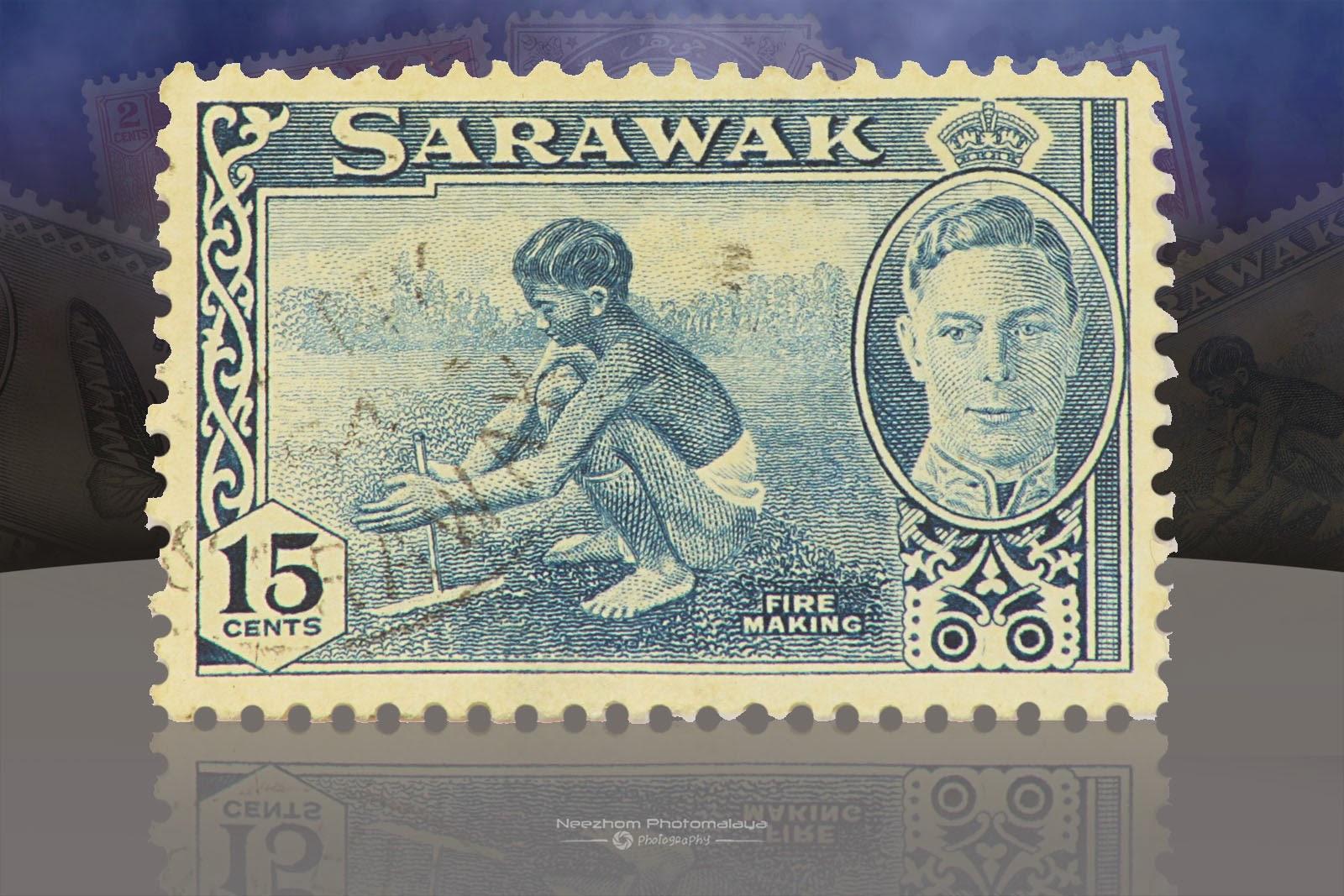 Setem Sarawak 15 Cents Fire making 1950
