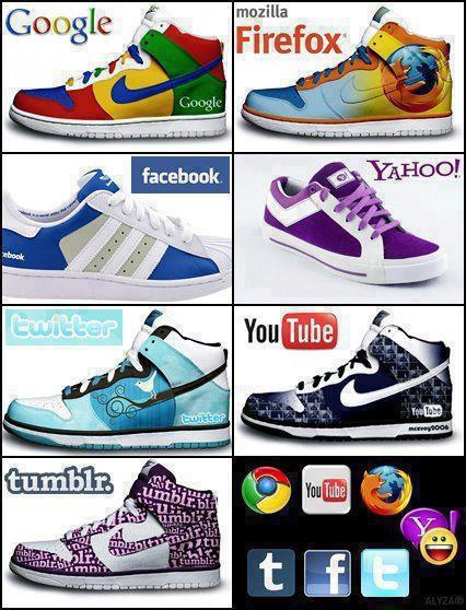 Social Media Branded Shoes - Google, Facebook, Twitter, Youtube