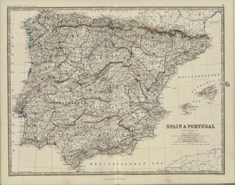 España y Portugal 1861 Alexander Keith Johnston