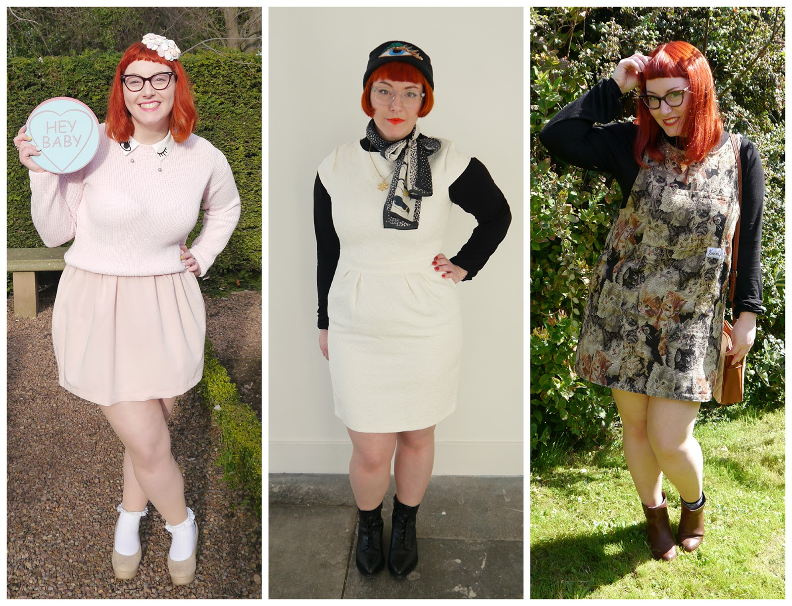 clashing prints, Scottish bloggers, 2015 round up, outfits of 2015, blogger style 2015, red head, ginger, vintage style glasses, galentines outfit, lovehearts, pink outfit, snowman style outfit, fun winter dressing, Karen Mabon scarf, Kerrie Aldo cat dress, cat pinafore, autumn dressing