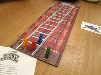 Bucket Brigade - The board and fireman and the beginning of the game