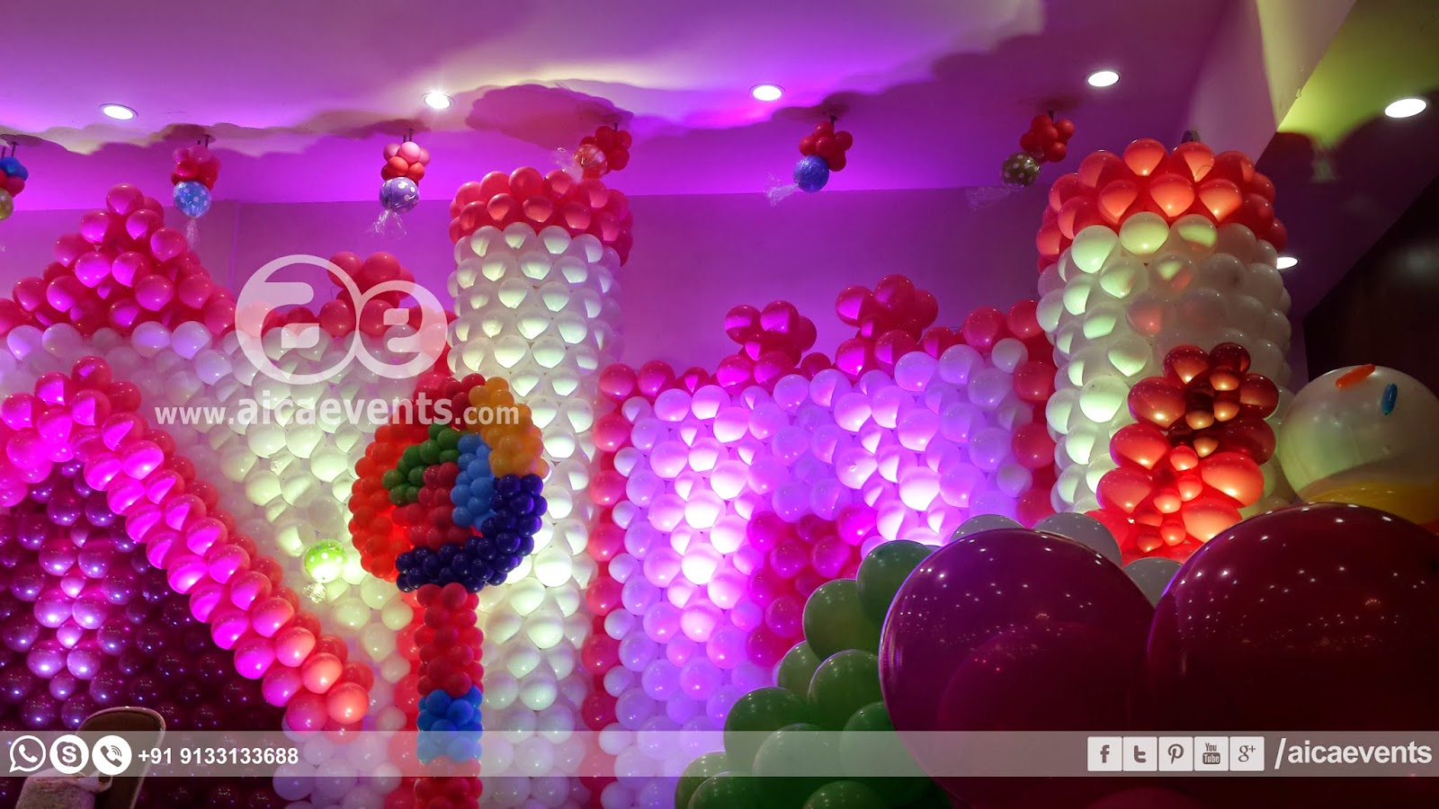 Aicaevents india castle with balloon wall decoration for Balloon decoration on wall for birthday