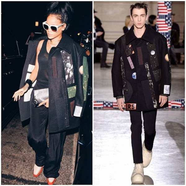 Rihanna wears Raf Simons Sterling Ruby Fall Winter 2014 patchwork FATHERS coat to Giorgio Baldi October 2014