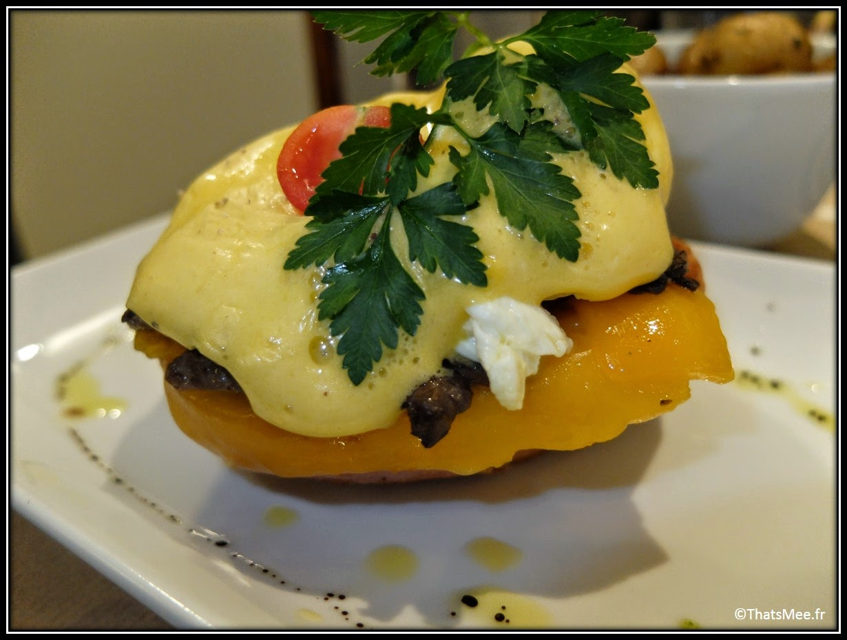 restaurant Benedict Marais Paris brunch, eggs oeufs benedictine cheddar champignons mushrooms