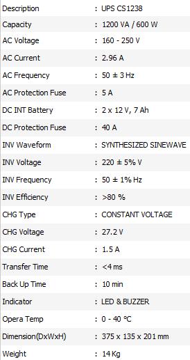 Spesifikasi UPS ICA CS 1238
