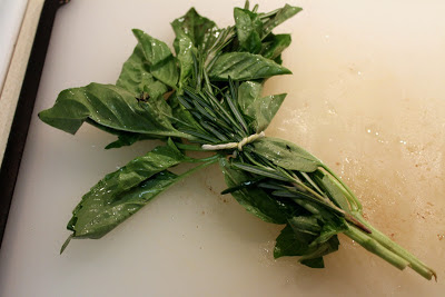Bouquet garni with basil and rosemary