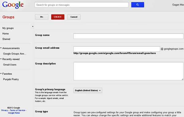 Create Group - Google Groups