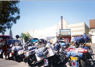 Harleys parked in front of movie theater in Garberville CA
