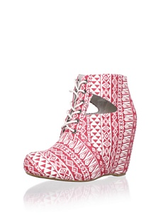 MyHabit: Up to 60% off: 80%20 Shoes: Seanne Cut-Out Wedge Bootie - Bold tribal patterned upper with adjustable lace-up closure, side cutouts, cushioned insole, hidden wedge