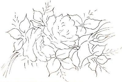 Riscos para Pintura em Tecido Rosa
