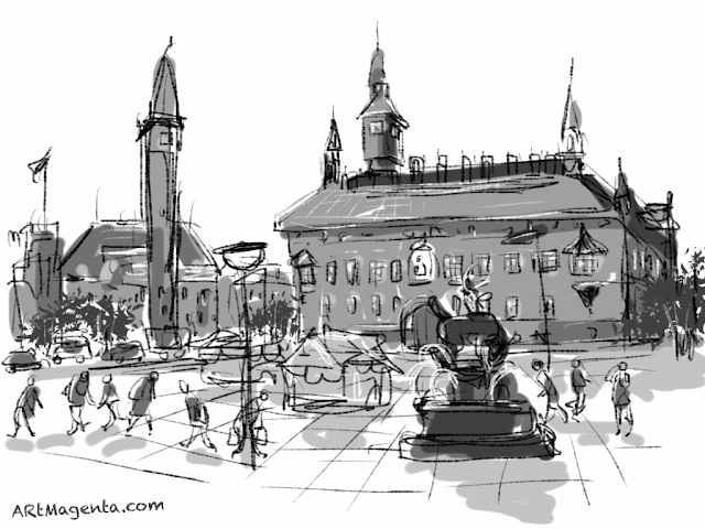 Raadhuspladsen in Copenhagen. A sketch drawn on iPad by Artmagenta.