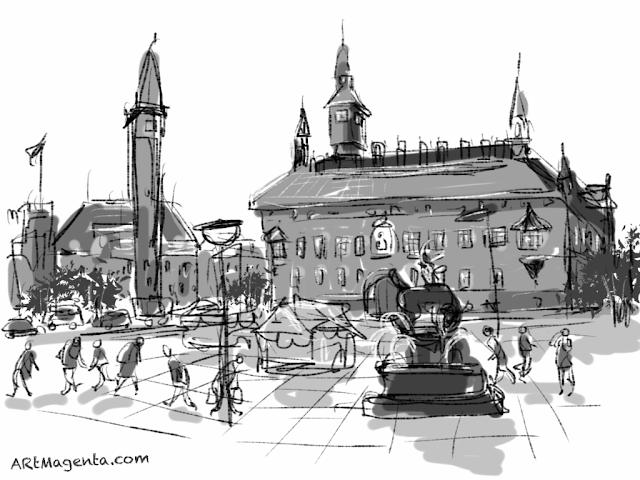 Raadhuspladsen in Copenhagen. A sketch drawn on iPad by Artmagenta.