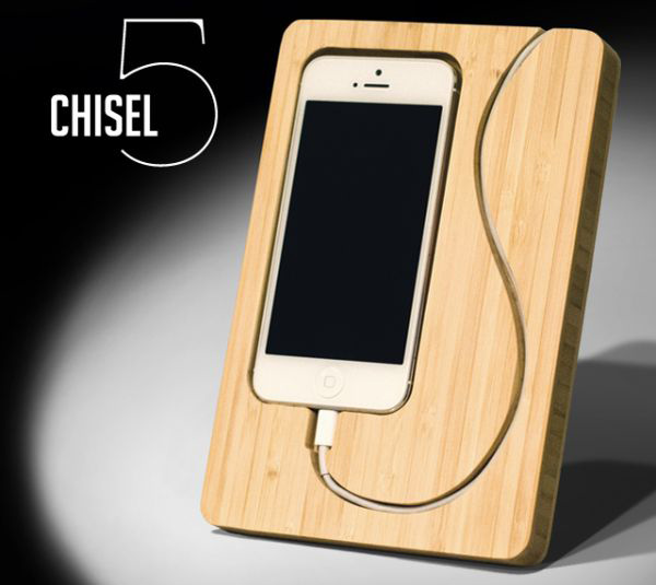 The Chisel 5 Bamboo Dock Frame for your iPhone
