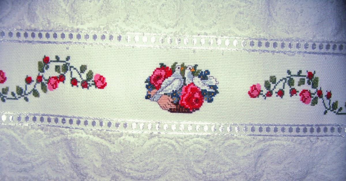 ghasal 39 s kreativblog handtuch rosenkorb mit tauben und girlande in kreuzstich. Black Bedroom Furniture Sets. Home Design Ideas