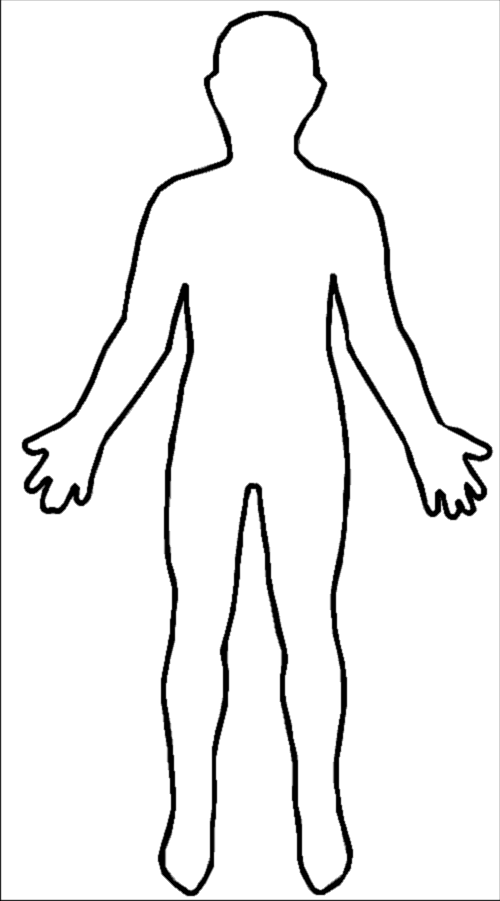 This is a graphic of Breathtaking Printable Human Body Outline Template Pdf