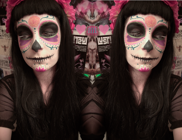 face of the day make up halloween day of the dead calavera witch voodoo magic sugar skull illamasqua purple pink sugarpill urban decay green liner the creeps store bones wig geisha wigs floral crown