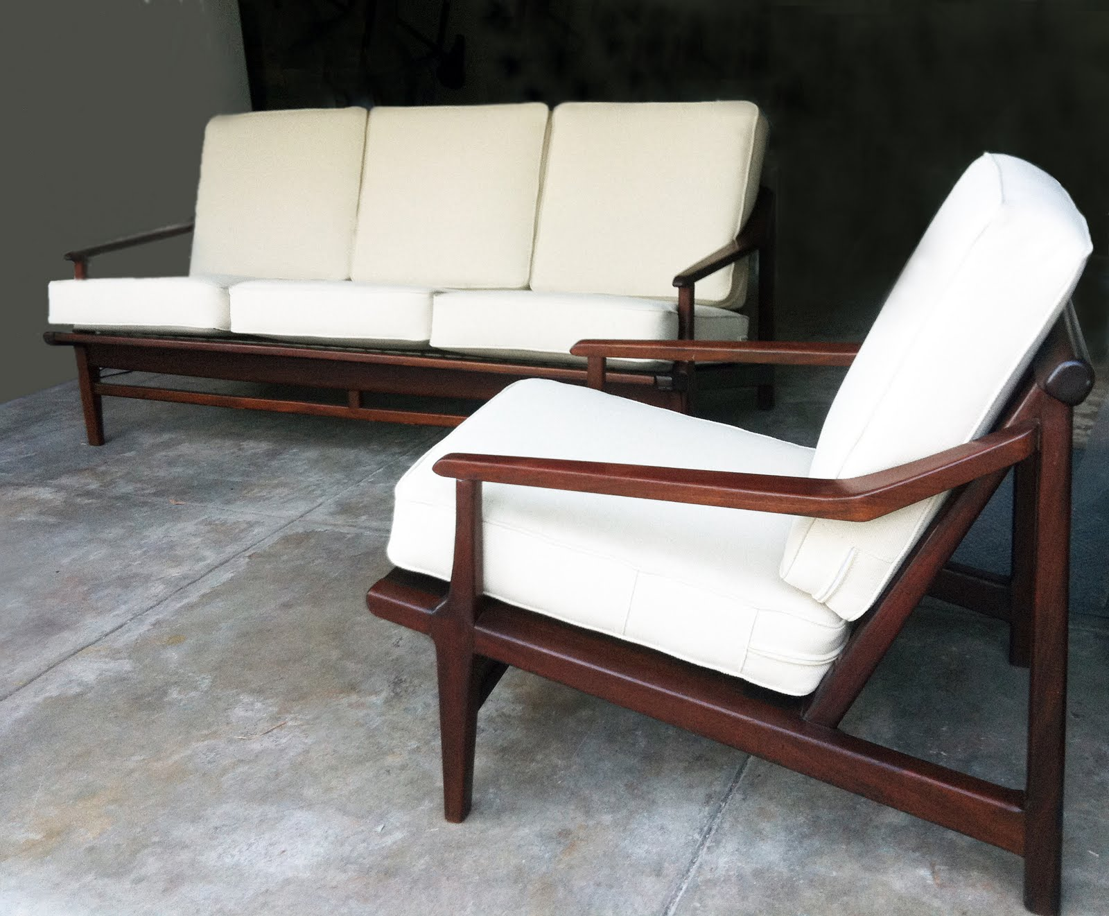 This Is A Beautiful Walnut Mid Century Modern Couch And Chair Set. The  Cushions Are Brand New And Professionally Made With Bone/off White Tweed  Fabric ...