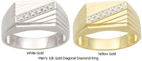 Men's 10k Gold Diagonal Diamond Ring