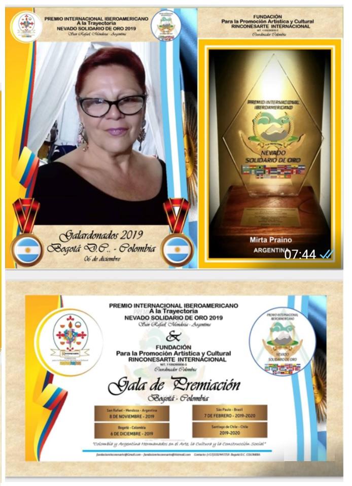 Premio Internacional Iberoamericano El Nevado de Oro Bogota Colombia - Entrega 6 de Diciembre 2019