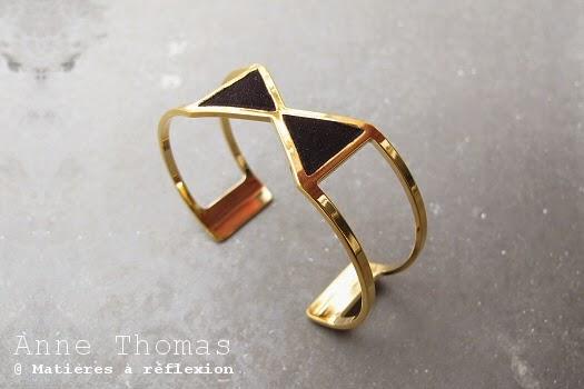 Bracelet Anne Thomas noir et doré