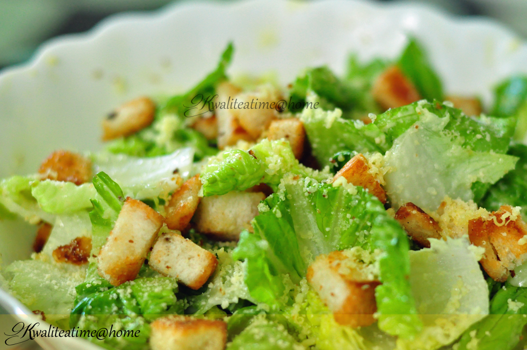 kwaliteatime@home: Homemade Croutons on your Simple Caesar Salad