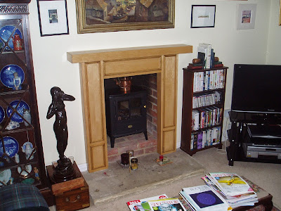 A photograph of a made to order fireplace in a client's house