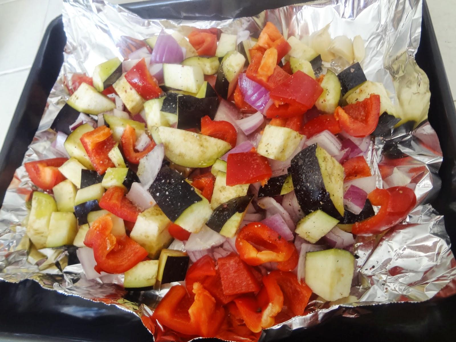 Roasted Eggplant and Pepper Pasta Salad