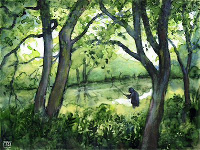 Landscape painting of man fishing in Peak District stream.