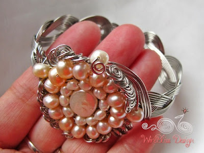 braided wire wrap cuff with pearls