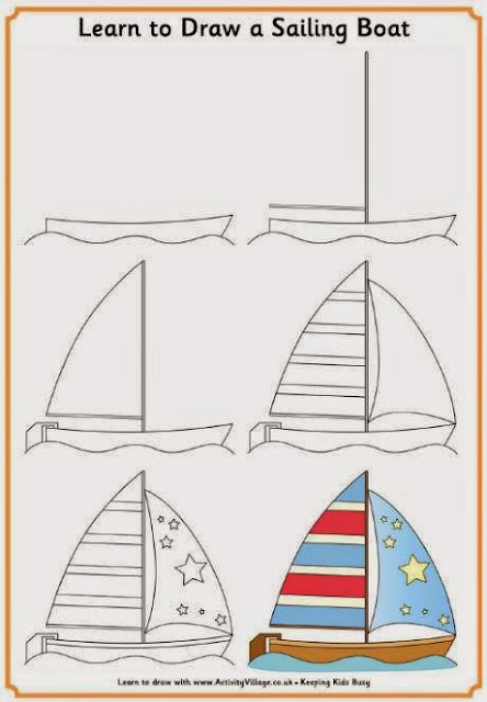 `Learn to draw sailing boat for kids