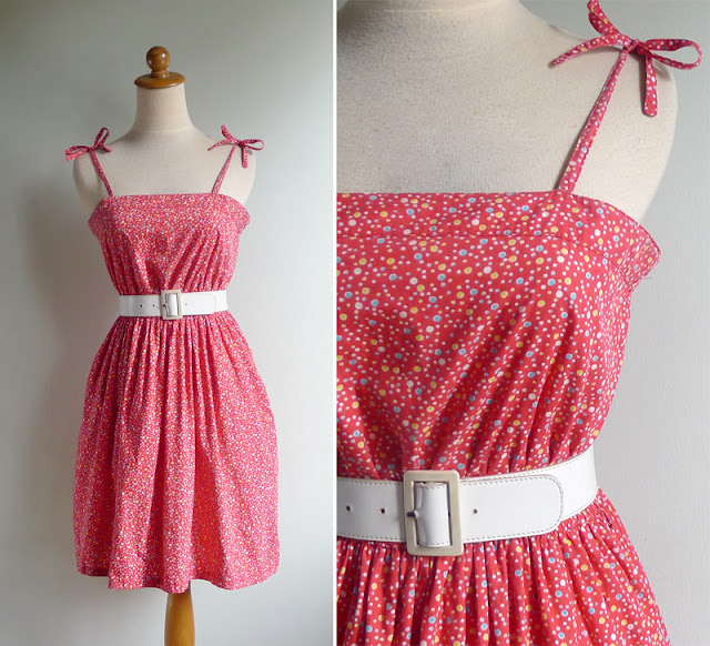 vintage 80's red ribbon tie sun dress