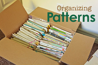 Sewing patterns organized by brand and number, and cataloged with photo on computer