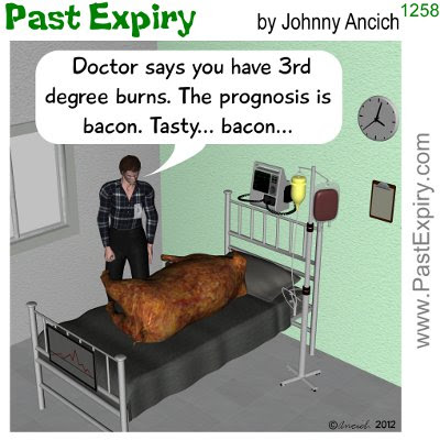 Cartoon about animals, food, illness, pigs,