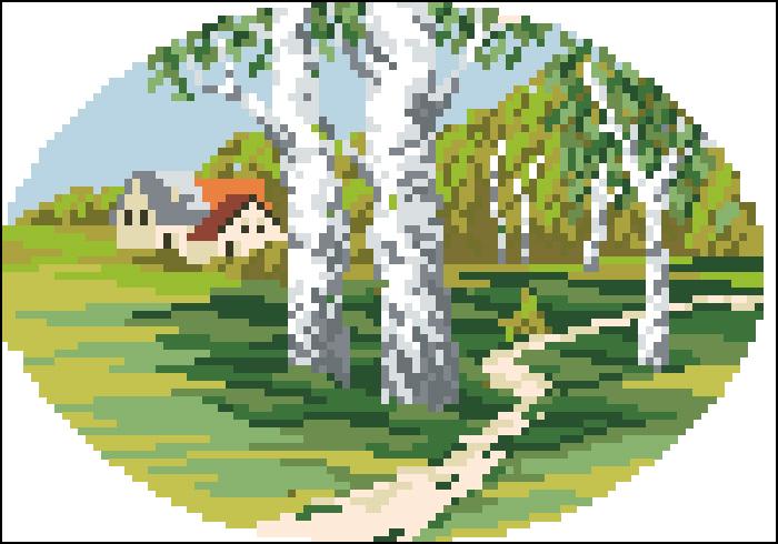 Схемы вышивка весна в лесу