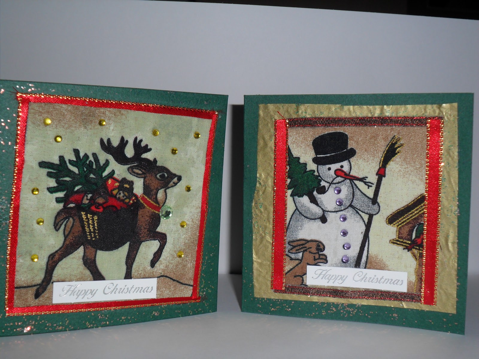 Quiet Insanity: Make Your Own Christmas Cards With Material Scraps!