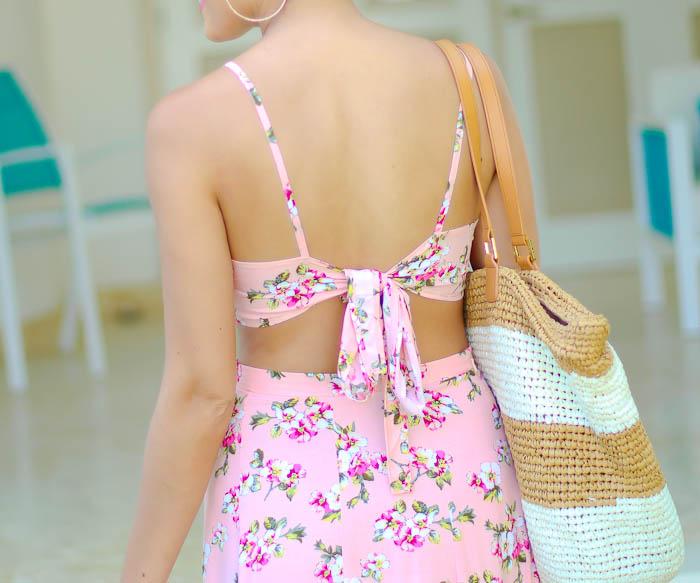 caribbean dominican republic, asos, matching separates, crop top, pink, maxi skirt, las terranes