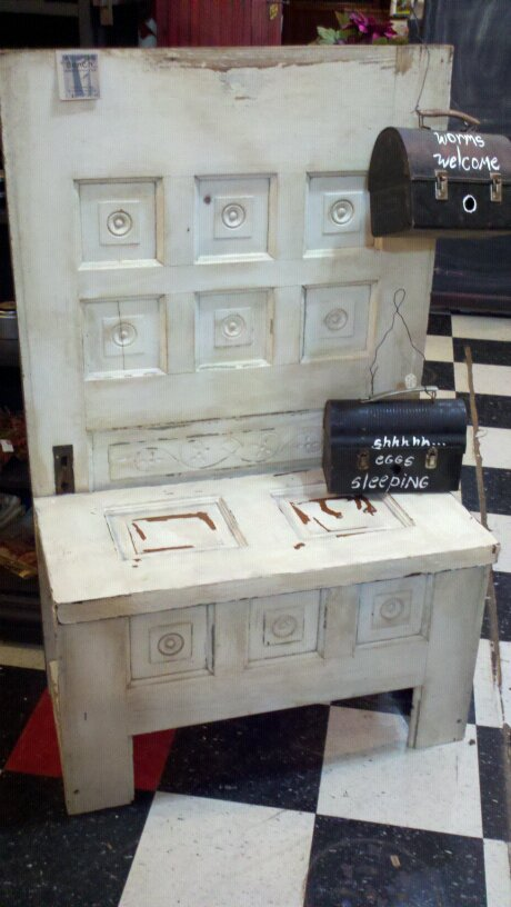 FRIENDS CANDLE SHED: Old doors made into benches...