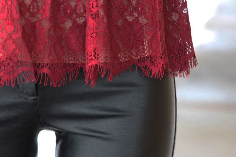 Lace Peplum and Leather, New Years, Anthropologie, Aritzia, Wilfred Free, Leather Pants