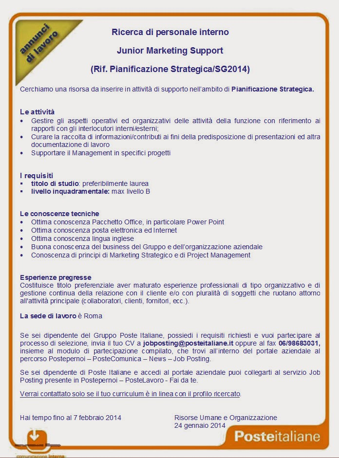 Recapito di Roma: Jobposting: Ricerca di personale interno - Junior Marketing Support