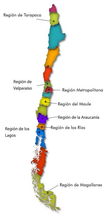 mapa chile regiones