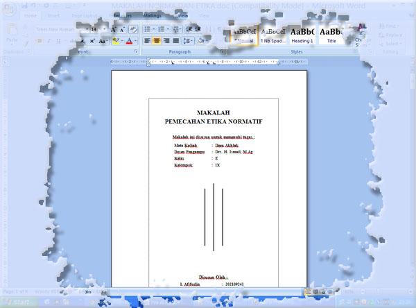 Abie Unya Blog Membuat Tiga Garis Vertikal Pada Cover