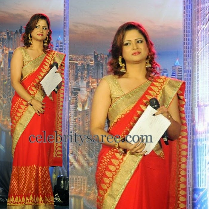 Shilpa Chakravarthy Red Attractive Saree