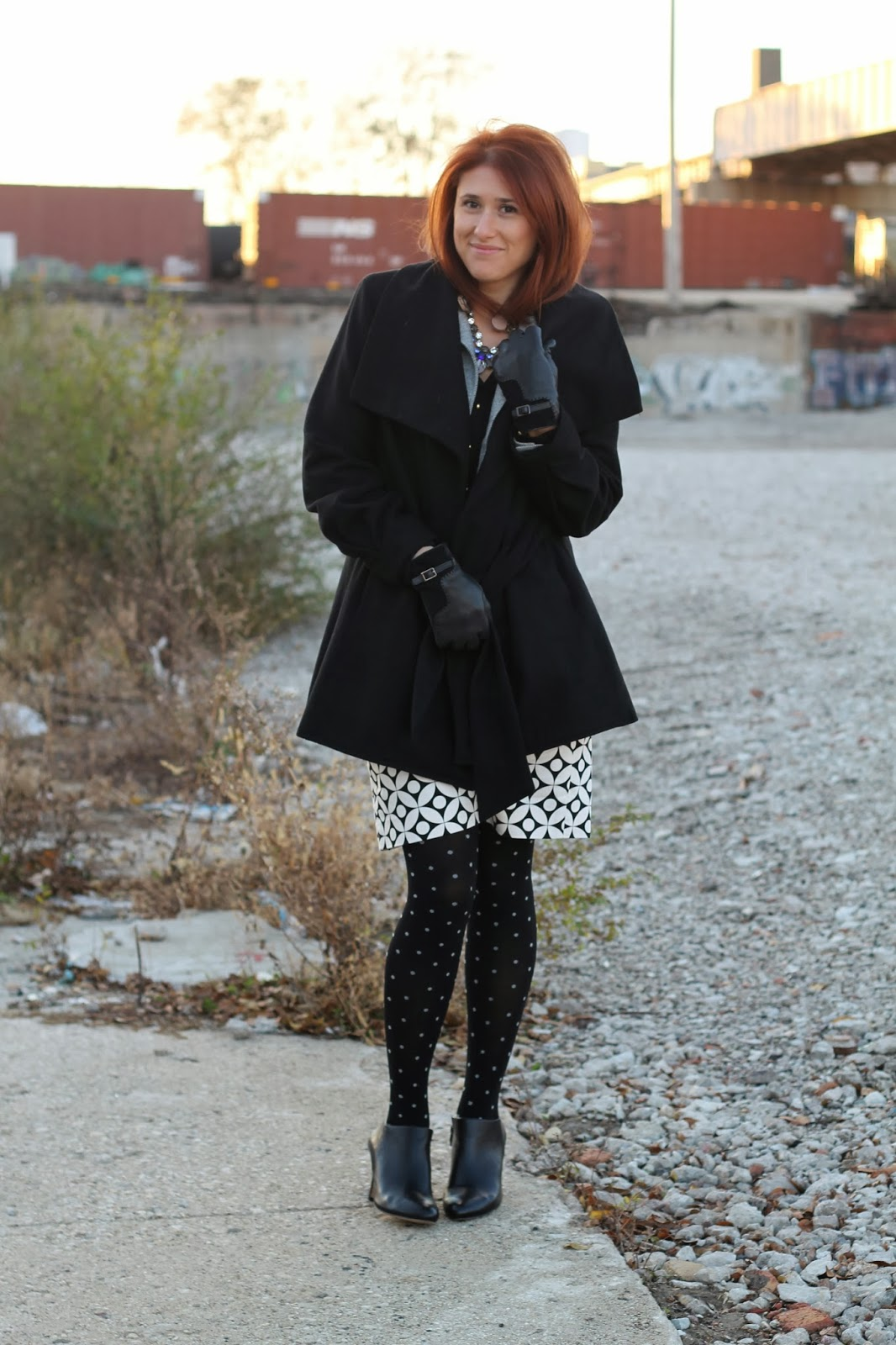 black, wrap, coat