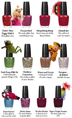 OPI, OPI The Muppets Collection, OPI nail polish, nail lacquer, nail varnish, Gettin' Miss Piggy With It, Excuse Moi, MeepMeepMeep, Animalistic, Fresh Frog Of Bel Air, Rainbow Connection, Warm and Fozzie, Designer de Better, Gone Gonzo, Divine Swine, Wocka Wocka, Pepe's Purple Passion
