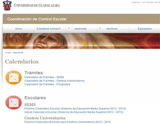 Calendario tramites UDG Escolar Ingreso 2014 B SEMS Centros Universitarios y Posgrados