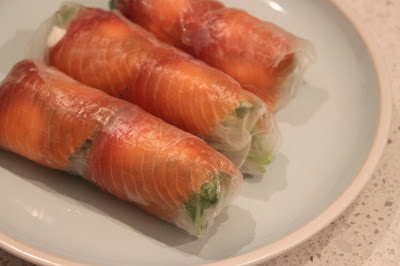 More than Words: Smoked Salmon Goats Cheese Rice Paper Roll