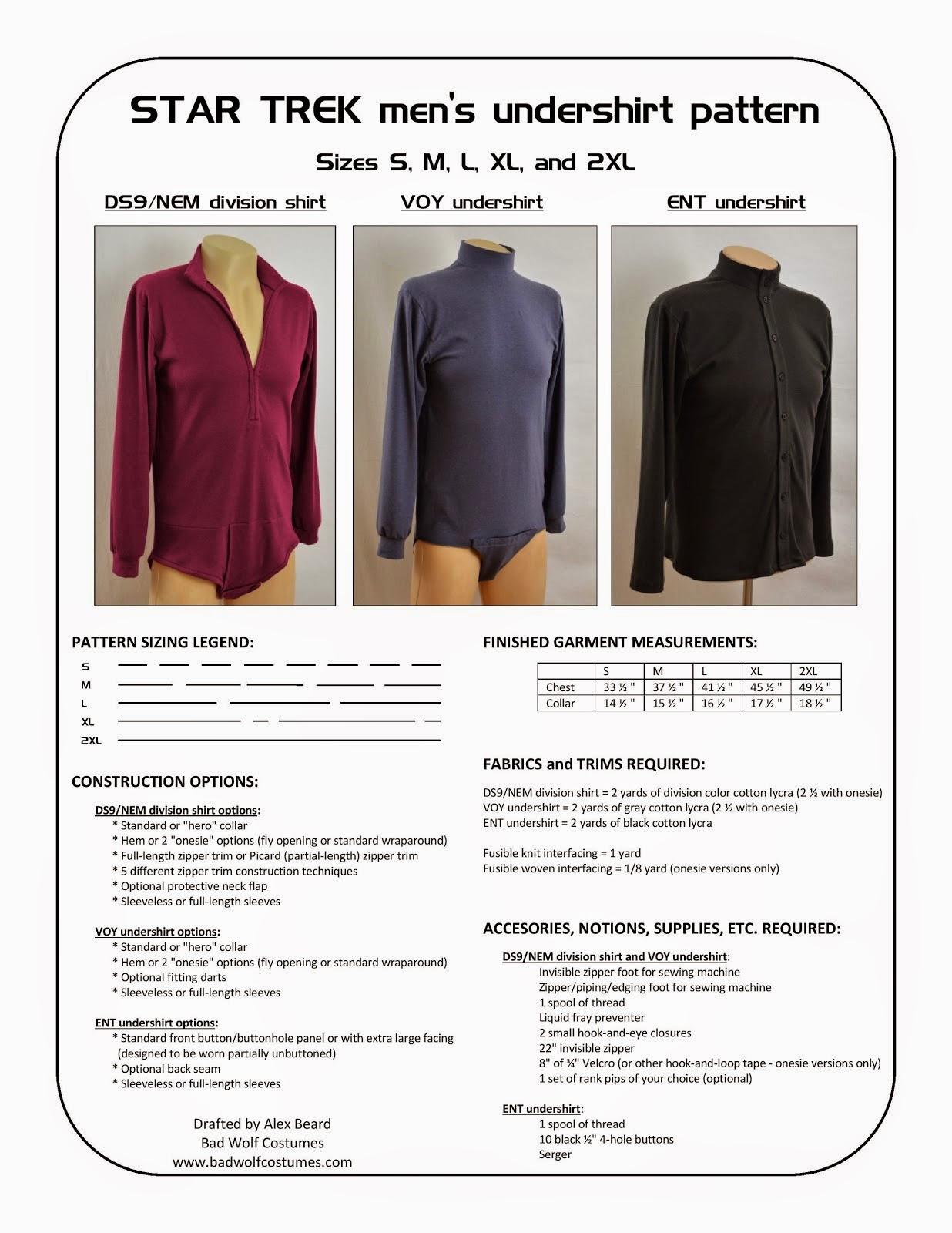 Star Trek: Men's Undershirt Sewing Pattern